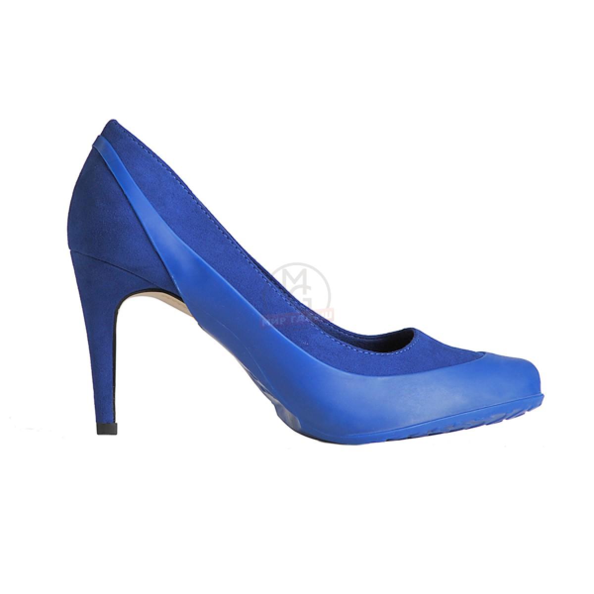 Женские галоши открытого типа под каблук, темно-синие