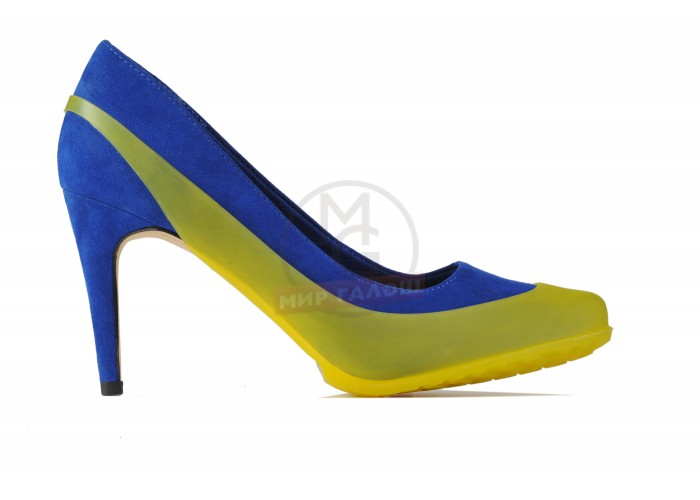 Женские галоши открытого типа под каблук, лимон